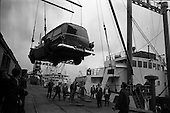 "1963 - Ford station wagon Ambulance unloaded from the ""City of Cork"" at the North Wall, Dublin"