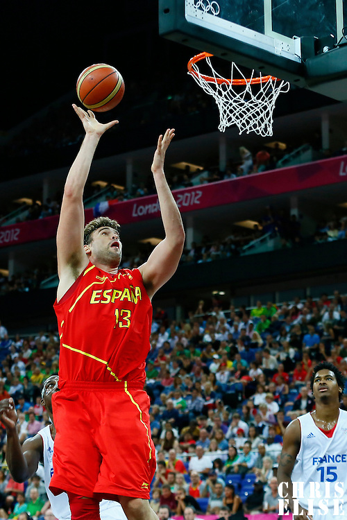 08 August 2012: Spain Marc Gasol goes for the skyhook during 66-59 Team Spain victory over Team France, during the men's basketball quarter-finals, at the 02 Arena, in London, Great Britain.