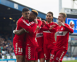 Britt Assombalonga of Middlesbrough (C) celebrates after scoring his sides first goal - Mandatory by-line: Jack Phillips/JMP - 17/02/2019 - FOOTBALL - Ewood Park - Blackburn, England - Blackburn Rovers v Middlesbrough - English Football League Championship