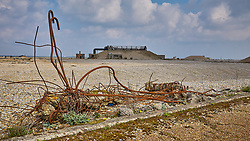 Derelict buildings of the former Atomic Weapons Research Establishment on the shingle spit of Orford Ness on the Suffolk coast.