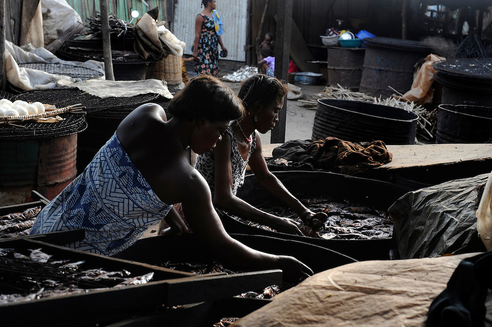 Beninese women selling fish at a fish market in  Cotonou, Benin on March 1, 2008.