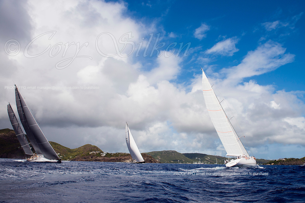 Sojana, P2, and Unfurled sailing in the Antigua Superyacht Challenge, day two.