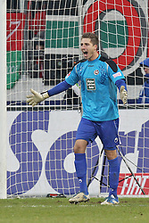 "28.01.2012, SGL Arena, Augsburg, GER, 1. FBL, FC Augsburg vs 1. FC Kaiserslautern, 19. Spieltag, im Bild Torhueter Kevin TRAPP (# 29, Kaiserslautern) schreit nach dem Ausgleich seine Vorderleute an // during the football match of the german ""Bundesliga"", 19th round, between FC Augsburg and 1. FC Kaiserslautern, at the SGL Arena, Augsburg, Germany on 2012/01/28. EXPA Pictures © 2012, PhotoCredit: EXPA/ Eibner/ Peter Fastl..***** ATTENTION - OUT OF GER *****"