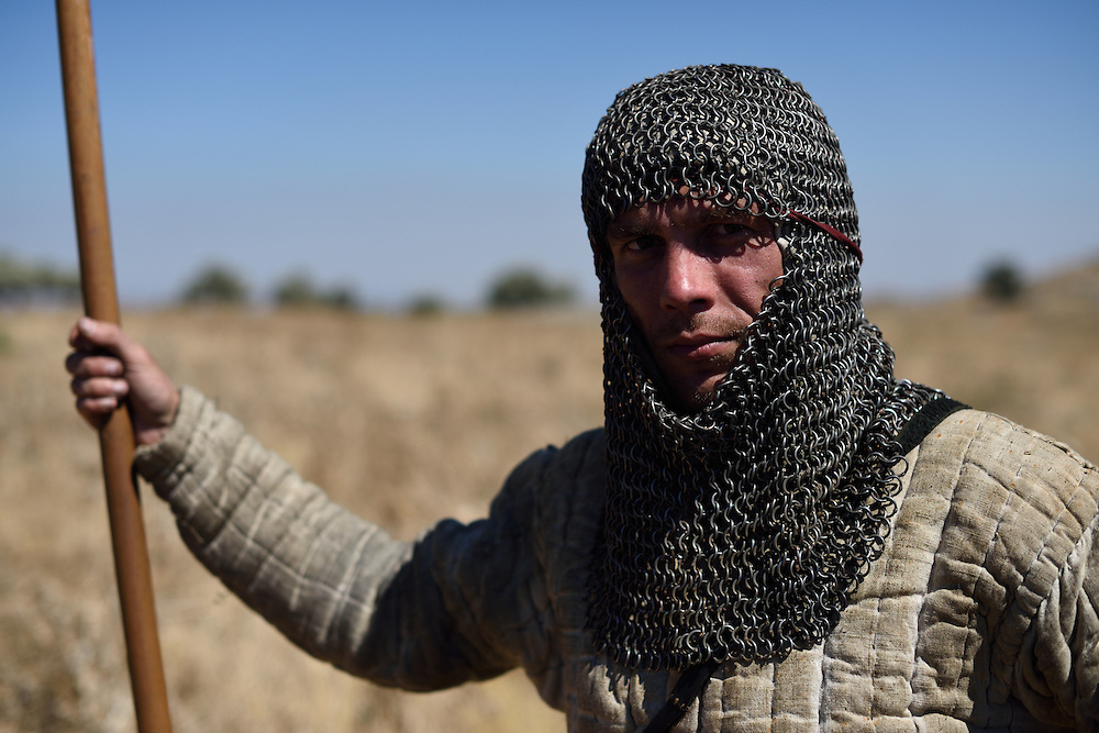An Israeli man takes part in the reenactment of the Hattin Battle in Horns of Hattin, North of Israel on July 4'th 2015.  The Battle of Hattin took place on July 3 and 4, 1187, between the Crusader Kingdom of Jerusalem and the forces of the Kurdish Ayyubid sultan Salah ad-Din, known in the West as Saladin. <br /> The Muslim armies under Saladin captured or killed the vast majority of the Crusader forces, removing their capability to wage war.As a direct result of the battle, Islamic forces once again became the eminent military power in the Holy Land, re-conquering Jerusalem and several other Crusader-held cities.These Christian defeats prompted the Third Crusade, which began two years after the Battle of Hattin. Photo by Gili Yaari <br /> **ISRAEL OUT UNTIL JULY 11'TH, 2015**