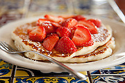 8-18-10 --- Big Fluffy Buttermilk Pancakes with Strawberries at AllGood Cafe
