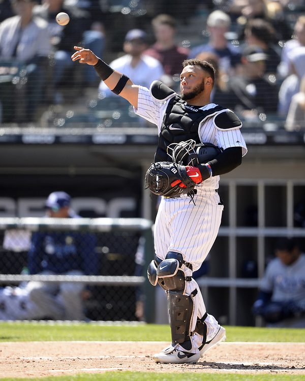 CHICAGO - APRIL 09:  Wellington Castillo #21 of the Chicago White Sox looks on against the Tampa Bay Rays on April 9, 2019 at Guaranteed Rate Field in Chicago, Illinois.  (Photo by Ron Vesely)  Subject:   Wellington Castillo