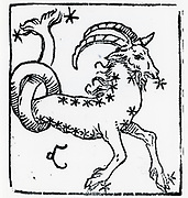 Zodiac sign of Capricorn. From 'Sphaera mundi', Strasburg, 1539