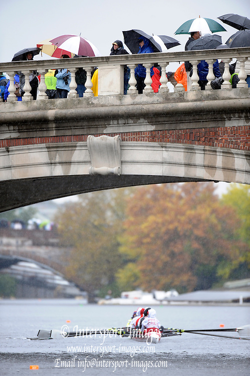 Cambridge, USA, General view, of the John Weekes footbridge with spectators watching the racing, during the  2009 Head of the Charles  Sunday  18/10/2009  [Mandatory Credit Peter Spurrier Intersport Images],.