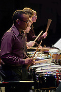 Working the drums at the Rowan University's presentation of The Percussion Ensemble and The Marimba Band.