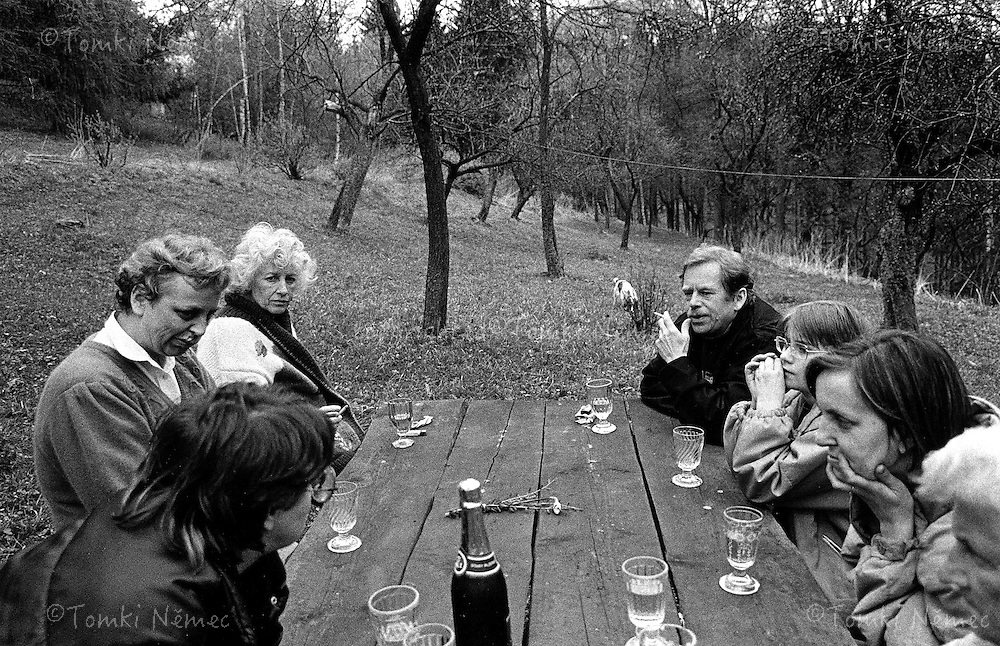 Olga and Vaclav Havel with friends on the cottage Hradecek, north Bohemia, 1990