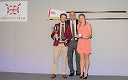 Twickenham, Great Britain, &quot;Mark LEES  Awards&quot; left, Joel CASSELLS, Guest of Honour, Sir Steven REDGRAVE, and Nicol LAMB, at the  GBRowing Team Party, Rose Room , RFU Stadium, Twickenham, ENGLAND. Friday. 20.11.2015.<br /> [Mandatory Credit; Peter Spurrier/Intersport-images]