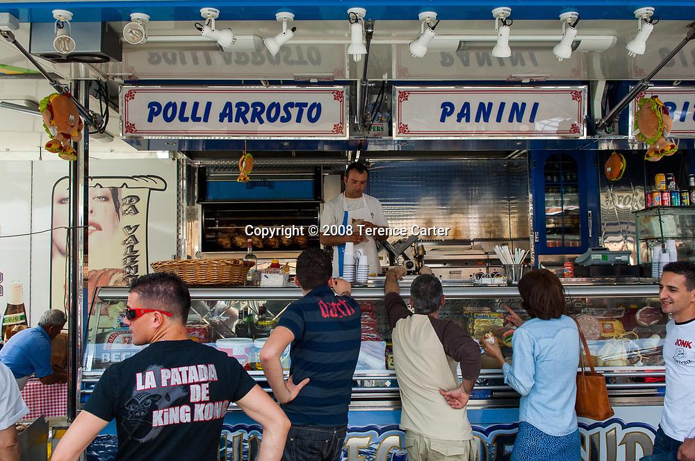 Italian 'fast food' at Diamante's market.