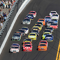 Sprint Cup drivers race down the front stretch during the Daytona 500 at Daytona International Speedway on February 20, 2011 in Daytona Beach, Florida. (AP Photo/Alex Menendez)
