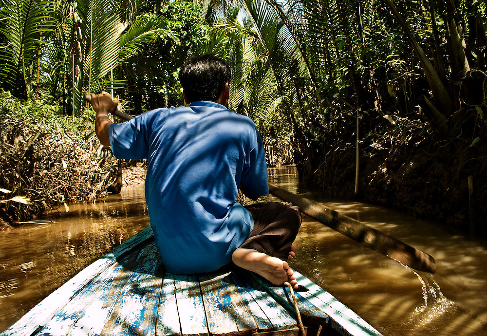 Vietnamese boatman, wearing a blue shirt, paddles from the bow of a canoe through a canal in the Mekong delta.   Palms trees, mangroves, and other growth lean over the muddy brown water.  Point of view of the passenger being paddled.
