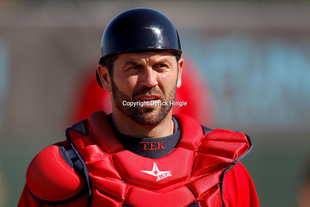 February 23, 2011; Fort Myers, FL, USA; Boston Red Sox catcher Jason Varitek (33) during spring training at the Player Development Complex.  Mandatory Credit: Derick E. Hingle