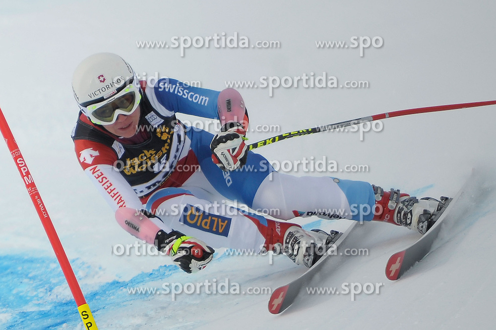 07.12.2012, Engiadina Rennstrecke, St. Moritz, SUI, FIS Ski Alpin Weltcup, Super Combination, Damen, Slalom, im Bild Fabienne Suter (SUI), in action // during Slalom of ladies Super Combined of FIS ski alpine world cup at the Engiadina course, St. Moritz, Switzerland on 2012/12/07. EXPA Pictures © 2012, PhotoCredit: EXPA/ Freshfocus/ Andreas Meier..***** ATTENTION - for AUT, SLO, CRO, SRB, BIH only *****