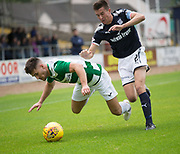 Buckie Thistle&rsquo;s Sam Urquhart falls as Dundee&rsquo;s Cammy Kerr challenges - Dundee v Buckie Thistle, Betfred Cup at Dens Park, Dundee, Photo: David Young<br /> <br />  - &copy; David Young - www.davidyoungphoto.co.uk - email: davidyoungphoto@gmail.com