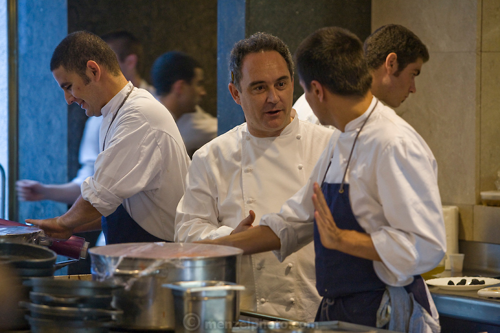 Ferran Adrià, a chef at the famous El Bulli restaurant near Rosas on the Costa Brava in Northern Spain, speaks to staff in restaurant's kitchen. (Ferran Adrià is featured in the book What I Eat: Around the World in 80 Diets.)