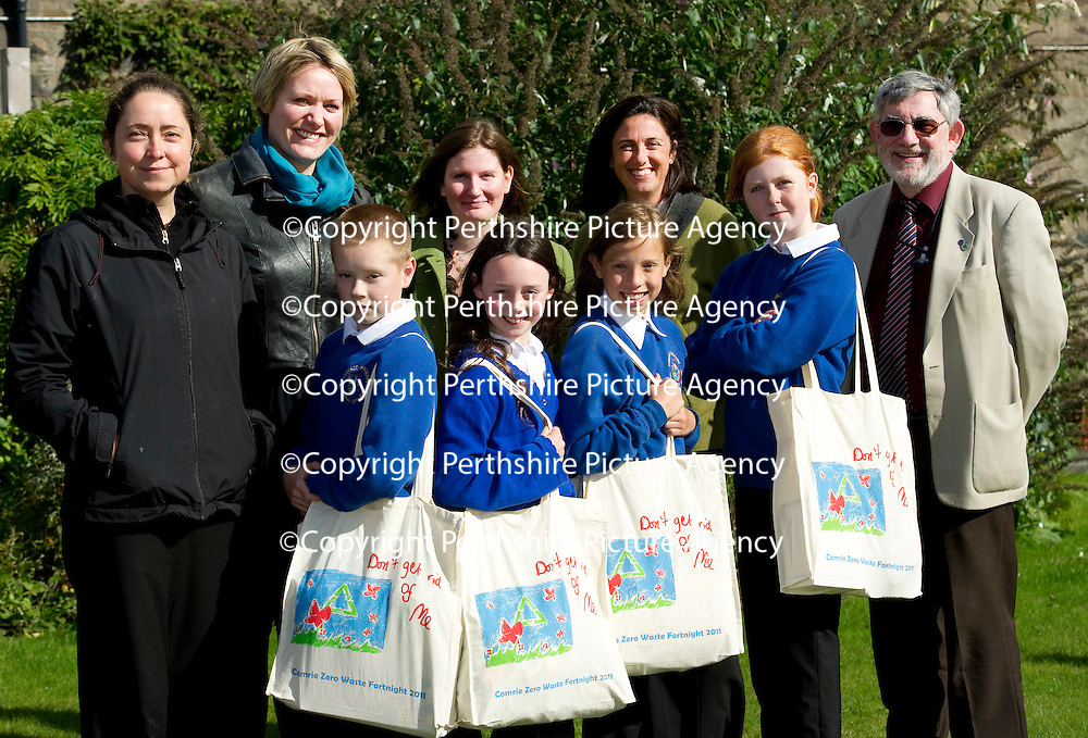 FREE TO USE PHOTOGRAPH...14.09.11 Launch of Comrie Zero Waste Fortnight, pictured from left, Emma Margrett Comrie Development Trust, Ylva Haglund Zero Waste Scotland, Yvonne Bell Perth &amp; Kinross Council, Isla Valenti Comrie Development Trust, Cllr Alan Grant Perth &amp; Kinross Council Environment Convenor and Comrie Primary School pupils, Jake Doy (11), Lily Wilson (9), Rebecaa Hardman Carter (11), and Sophie Davies (11)<br /> for further info contact Nicola McGovern Zero Waste Scotland on 01786 468890 or 07540 516156<br /> Picture by Graeme Hart.<br /> Copyright Perthshire Picture Agency<br /> Tel: 01738 623350  Mobile: 07990 594431