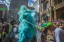 May 27, 2019 - Sao Paulo, Brazil - Artistic Intervention Grupo makes artistic intervention celebrating the Atlantic Forest Day on the steps of the Municipal Theater in São Paulo. (Credit Image: © Cris Faga/ZUMA Wire)