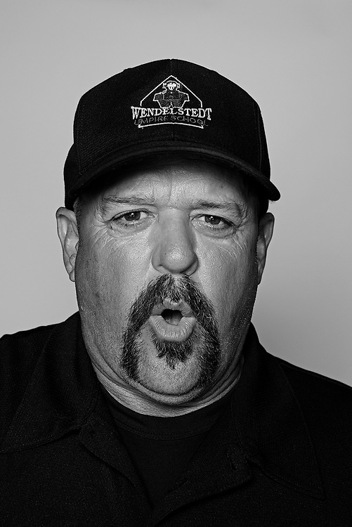 DAYTONA BEACH, FL - FEBRUARY 2, 2016:  Portraits of umpires calling a strike at the Harry Wendelstedt Umpire School in Daytona Beach, Fla.: Duane Clemons, 55, of Whiting, Kansas. (Photo by Melissa Lyttle)