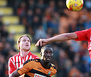 Exeter City defender Christian Ribeiro & Barnet defender Bira Dembele focus on the ball during the Sky Bet League 2 match between Barnet and Exeter City at The Hive Stadium, London, England on 31 October 2015. Photo by Bennett Dean.