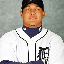 February 28, 2012; Lakeland, FL, USA; Detroit Tigers center fielder Avisail Garcia (33) poses for photo day in the rec room at the Detroit Tigers Headquarters.  Mandatory Credit: Derick E. Hingle-US PRESSWIRE