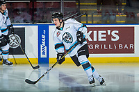 KELOWNA, CANADA - DECEMBER 2: Cameron Hausinger #9 of the Kootenay Ice warms up against the Kelowna Rockets on December 2, 2017 at Prospera Place in Kelowna, British Columbia, Canada.  (Photo by Marissa Baecker/Shoot the Breeze)  *** Local Caption ***