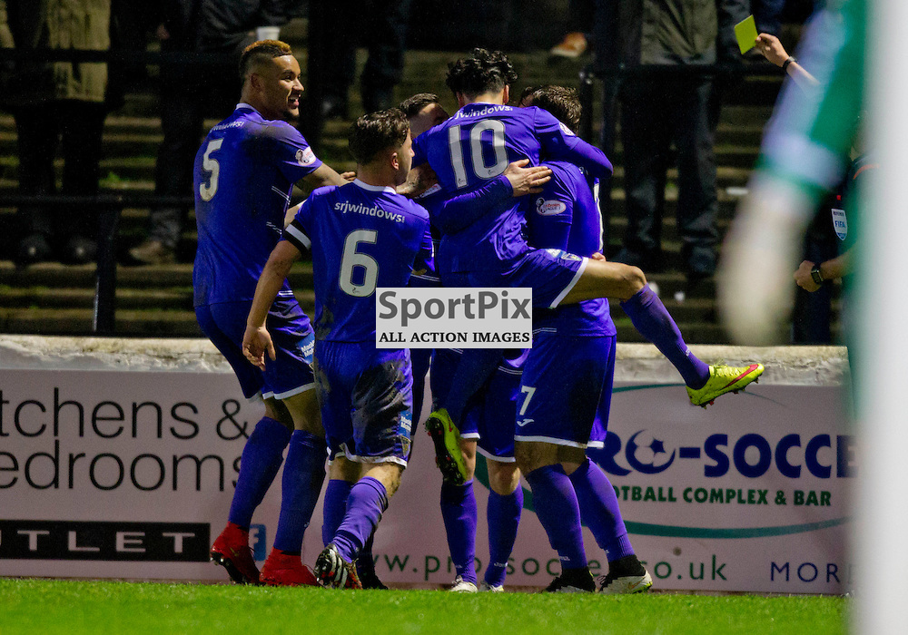 Ayr United v Dunfermline Athletic SPFL League One Season 2015/16 Somerset Park 12 December 2015<br /> David Hopkirk is mobbed by his team mates after scoring the winner<br /> CRAIG BROWN | sportPix.org.uk
