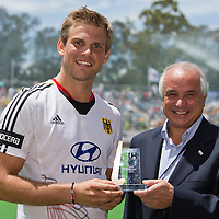 Champions Trophy Melbourne 2012..Mortiz  Fuerste of Germany is FIH World Player of the Year  at the Men's Hockey Champions Trophy in Melbourne on Saturday, Dec. 8, 2012. presented by FIH President Leandro Negre.FFU Press Agency Photo: Grant Treeby