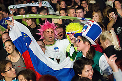 Fans at reception of Slovenia National basketball team after they placed 5th at Eurobasket 2013 on September 22, 2013 in Fan zone Kongresni trg, Ljubljana, Slovenia. (Photo by Vid Ponikvar / Sportida)