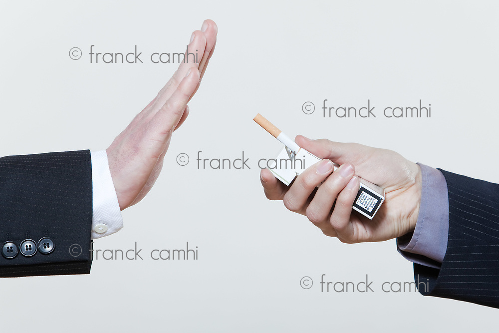 two men male hands stop smoking gesture on studio isolated background
