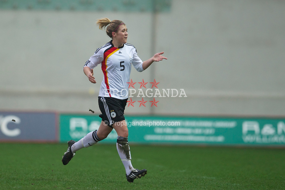 LLANELLI, WALES - Thursday, March 31, 2011: Germany's Luisa Wensing celebrates scoring the first goal against Wales during the UEFA European Women's Under-19 Championship Second Qualifying Round (Group 3) match at Parc Y Scarlets. (Photo by David Rawcliffe/Propaganda)