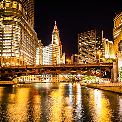 Chicago Wabash Avenue Bridge at night picture. Image includes the Chicago River, Trump Tower, Wrigley Building, Equitable Building, and London Guarantee Building.