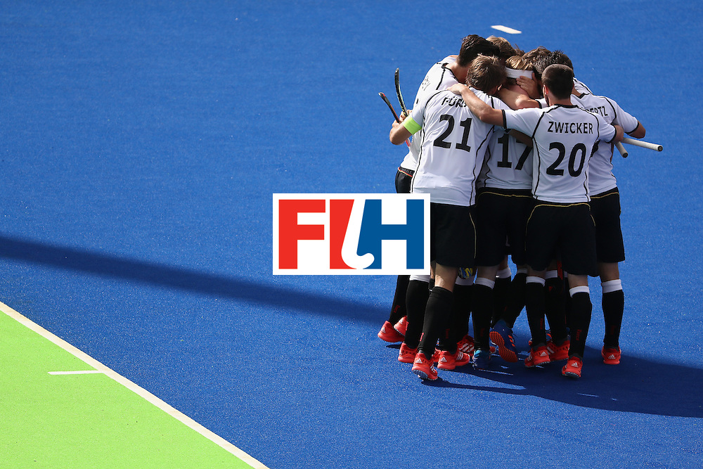 RIO DE JANEIRO, BRAZIL - AUGUST 12:  Germany reacts to scoring against Netherlands during a Men's Preliminary Pool B match on Day 7 of the Rio 2016 Olympic Games at the Olympic Hockey Centre on August 12, 2016 in Rio de Janeiro, Brazil.  (Photo by Sean M. Haffey/Getty Images)