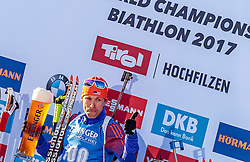 16.02.2017, Biathlonarena, Hochfilzen, AUT, IBU Weltmeisterschaften Biathlon, Hochfilzen 2017, Einzel Herren, Flower Zeremonie, im Bild Goldmedaillengewinner Lowell Bailey (USA) // Winner and Gold Medalist Lowell Bailey of the USA during Flower Ceremony of the individual Mens of the IBU Biathlon World Championships at the Biathlonarena in Hochfilzen, Austria on 2017/02/16. EXPA Pictures © 2017, PhotoCredit: EXPA/ JFK