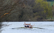 Henley. United Kingdom. Oxford Women's Blue Boat with a good lead in the 2014 Henley Boat Race, Henley Reach, Annual Women's Boat Race.  River Thames; <br />  Sunday  - 30/03/2014  [Mandatory Credit; Intersport Images], OXFORD: Elizabeth Fenje (bow seat), Alice Carrington-Windo (two seat), Maxie Scheske (three seat), Lauren Kedar (four seat), Nadine Graedel Iberg (five seat), Laura Savarese (six seat), Anastasia Chitty (seven seat), Amber de Vere (stroke seat) Erin Wysocki-Jones (cox)
