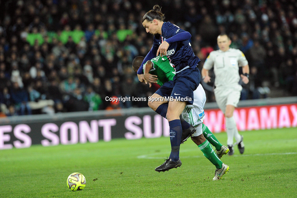 Kevin THEOPHILE CATHERINE /  Zlatan IBRAHIMOVIC - 25.01.2015 - Saint Etienne / PSG  - 22eme journee de Ligue1<br />Photo : Jean Paul Thomas / Icon Sport