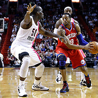 21 January 2012: Miami Heat center Joel Anthony (50) defends on Philadelphia Sixers small forward Andre Iguodala (9) during the Miami Heat 113-92 victory over the Philadelphia Sixers at the AmericanAirlines Arena, Miami, Florida, USA.