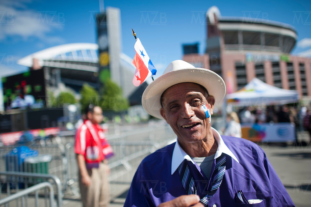 A Panamanian fan outside CenturyLink Field before the USA vs. Panama Men's Soccer - FIFA World Cup qualifying match between the USA and Panama Tuesday, June 11, 2013 at CenturyLink Field in Seattle, WA.