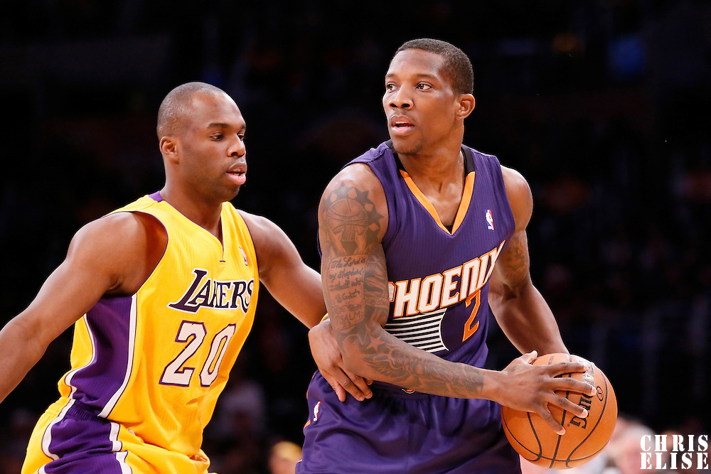 10 December 2013: Phoenix Suns point guard Eric Bledsoe (2) looks to pass the ball past Los Angeles Lakers shooting guard Jodie Meeks (20) during the Phoenix Suns 114-108 victory over the Los Angeles Lakers at the Staples Center, Los Angeles, California, USA.