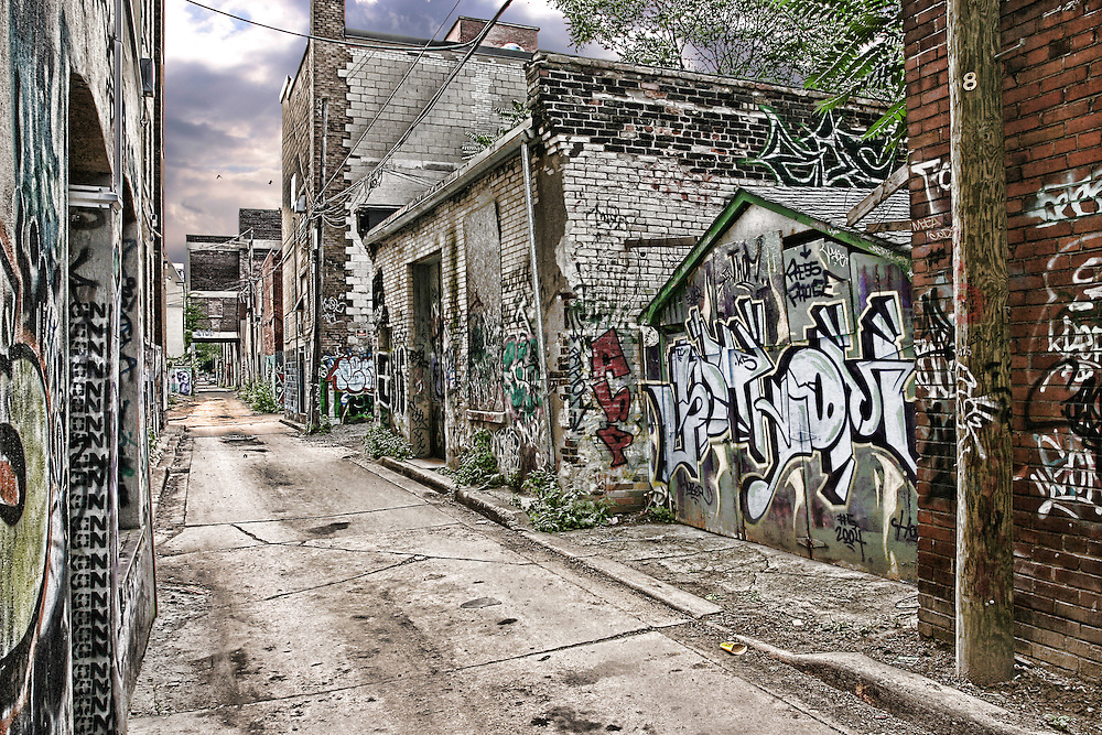 A back alley with graffiti