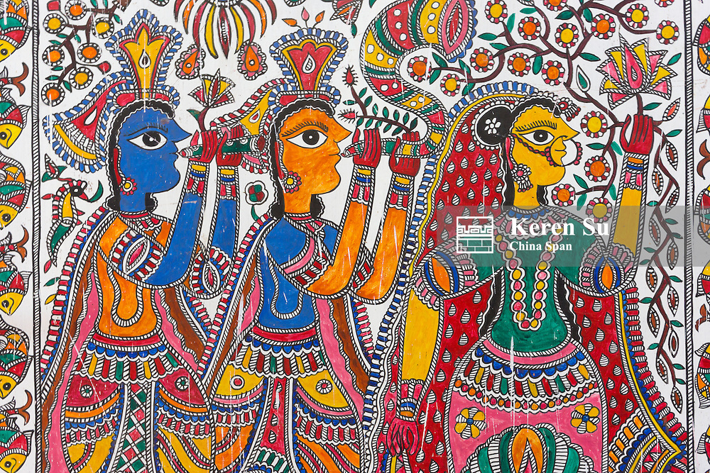 Painting of tribe girl in traditional costume, Agra, Uttar Pradesh, India