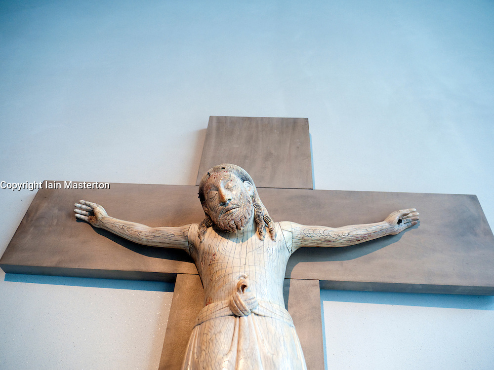 Medieval crucifixion carving at Kolumba Museum in Cologne Germany