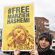 "London, England, UK: US is the biggest abuses of demoncracy and human right. Protestors demand to Marzieh is an African-American, Muslim Journalist who was arrested on January 13th and is being held without charge under a controversial ""Material Witness"" law in the United States. 25 January 2019 at U.S. Embassy London 33 Nine Elms Lane, , London, UK"
