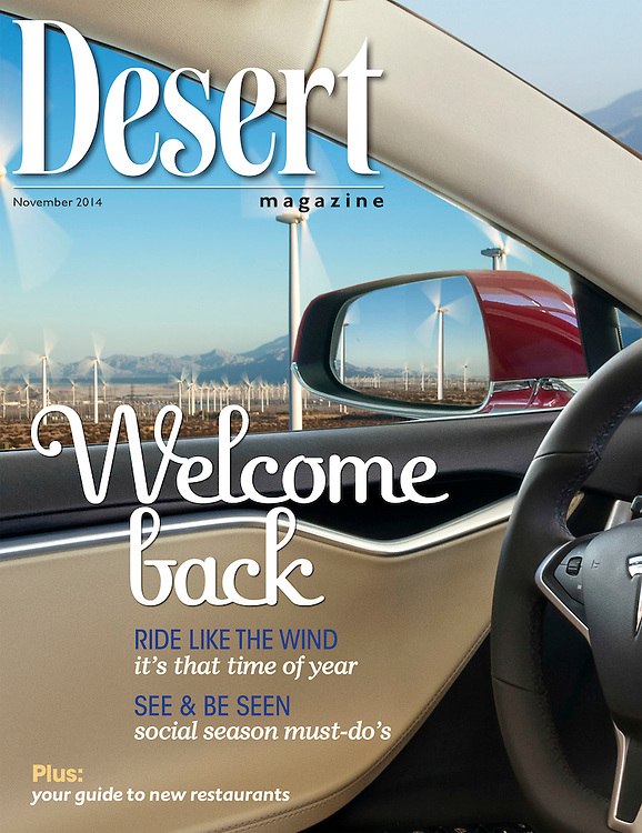 Automotive feature story in Desert Magazine about a Tesla Model S P85+ all electric vehicle. Shot Amongst electric generating windmills in Palm Springs.