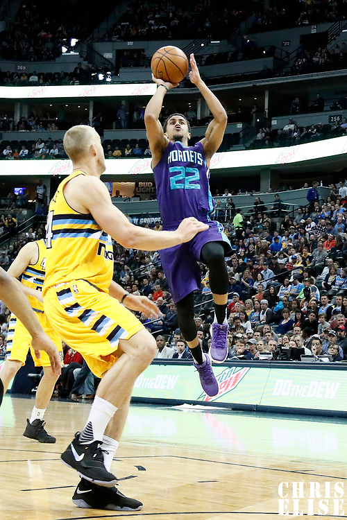 04 March 2017: Charlotte Hornets guard Brian Roberts (22) takes a jump shot during the Charlotte Hornets 112-102 victory over the Denver Nuggets, at the Pepsi Center, Denver, Colorado, USA.