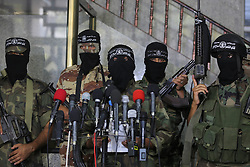 September 27, 2016 - Gaza, Gaza strip, Palestine - Palestinian militants of the Nasser Salah al-Din Brigades  of the Popular Resistance announce which to develop a missile 117 medium-range missile and  Q70 during a press conference in Gaza city, on 27 September 2016. (Credit Image: © Momen Faiz/NurPhoto via ZUMA Press)