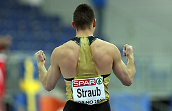 Alexander Straub of Germany celebrates at the Pole Vault men Qualification at the 2nd day of  European Athletics Indoor Championships Torino 2009 (6th - 8th March), at Oval Lingotto Stadium,  Torino, Italy, on March 6, 2009. (Photo by Vid Ponikvar / Sportida)