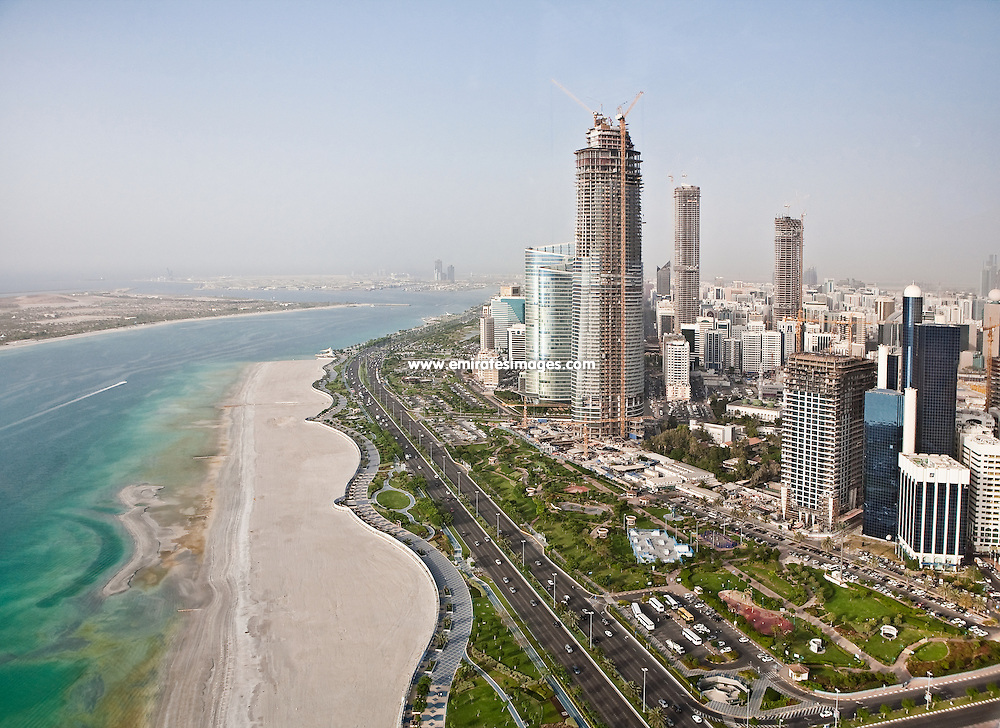 Aerial photo of Abu Dhabi corniche